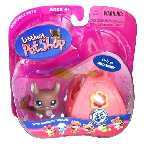 Littlest Pet Shop Portable Pets Chinchilla Exclusive Figure #314 [Brown With Carrier]