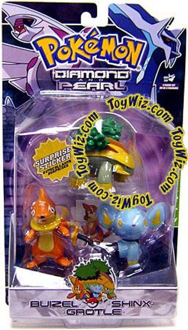 Pokemon Diamond & Pearl Series 3 Buizel, Shinx & Grotle Figure 3-Pack