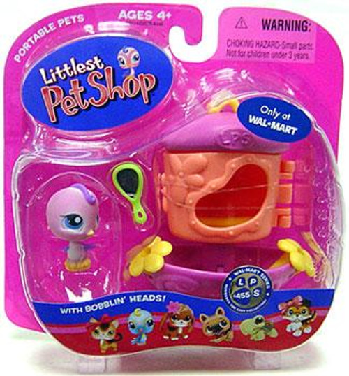 Littlest Pet Shop Portable Pets Bird Exclusive Figure #455 [Pink with Mirror & Feeder]