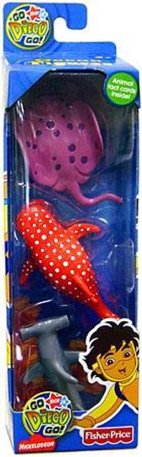Fisher Price Go Diego Go! Hammerhead Shark, Whale Shark & Stingray Mini Figure 3-Pack