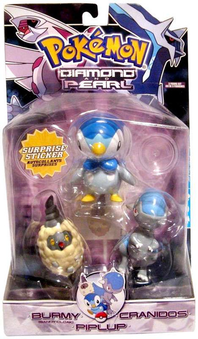 Pokemon Diamond & Pearl Series 4 Burmy [Sandy Cloak], Cranidos & Piplup Figure 3-Pack