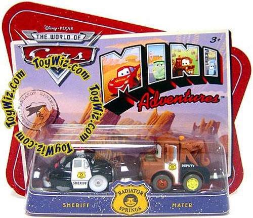 Disney Cars The World of Cars Mini Adventures Sheriff & Mater Plastic Car 2-Pack