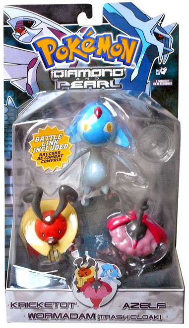 Pokemon Diamond & Pearl Series 5 Kricketot, Azelf & Wormadam [Plant Cloak] Figure 3-Pack