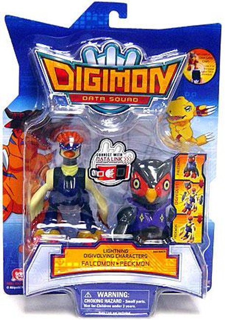 Digimon Data Squad Lightning Digivolving Characters Falcomon to Peckmon Action Figure