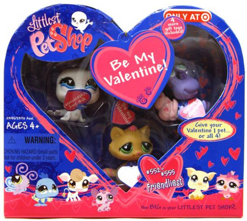 Littlest Pet Shop Be My Valentine Exclusive Figure Set #552, 553, 554, 555
