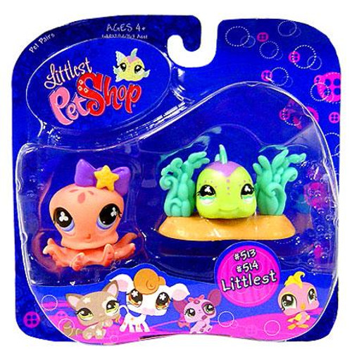 Littlest Pet Shop Pet Pairs Octopus & Green Fish Figure 2-Pack #513, 514