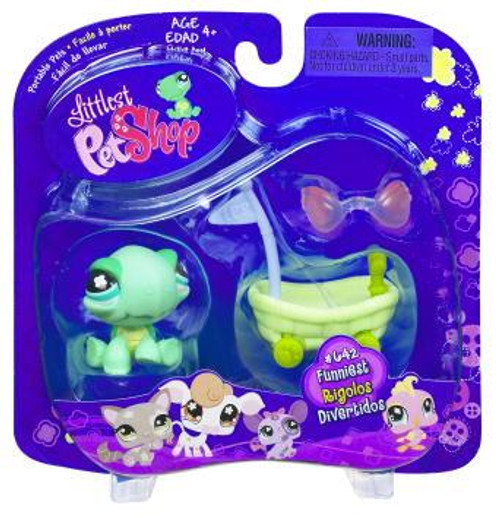 Littlest Pet Shop Portable Pets Turtle Figure #642 [Wheelbarrow]