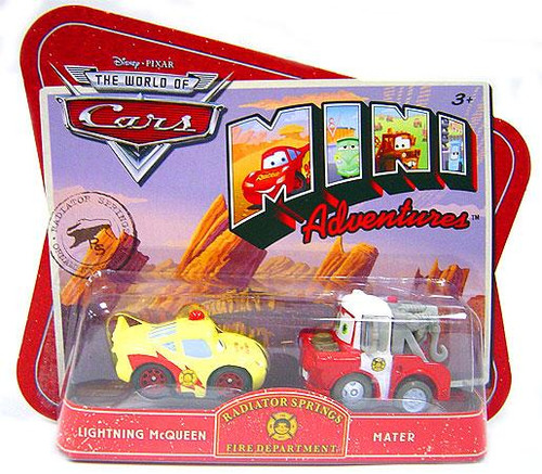 Disney Cars The World of Cars Mini Adventures Radiator Springs Fire Department Plastic Car 2-Pack [Lightning McQueen & Mater]