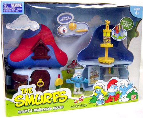 The Smurfs Articulated Smurf's Mushroom House 2-Inch Mini Figure Playset