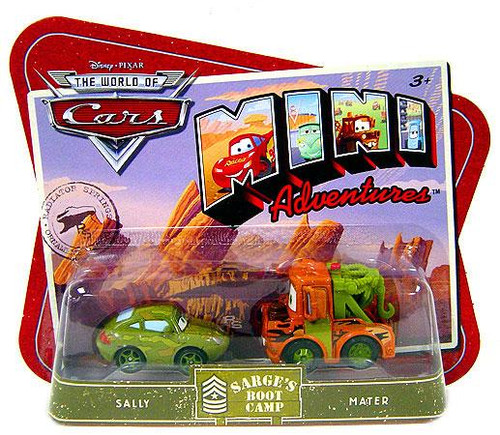 Disney Cars The World of Cars Mini Adventures Sarge's Boot Camp Plastic Car 2-Pack [Sally & Mater]