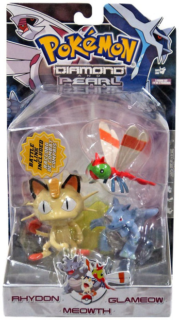 Pokemon Diamond & Pearl Series 7 Rhydon, Yanma & Meowth Figure 3-Pack