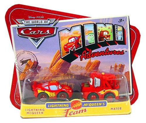 Disney Cars The World of Cars Mini Adventures Lightning McQueen's Team Plastic Car 2-Pack [McQueen & Mater]