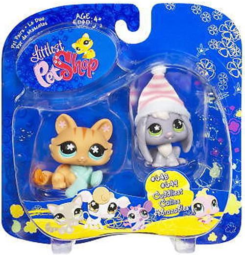 Littlest Pet Shop Pet Pairs Lop Eared Bunny & Cat Figure 2-Pack #648, 649 [Winter Gear]
