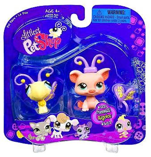 Littlest Pet Shop Pet Pairs Butterfly & Pig Figure 2-Pack #621, 622