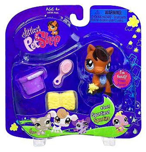 Littlest Pet Shop Horse Figure #627 [Bail of Hay & Pail]