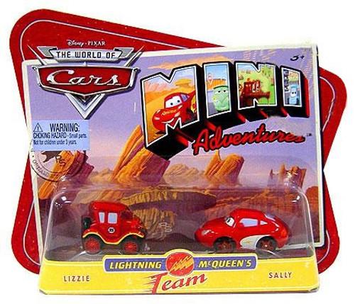 Disney Cars The World of Cars Mini Adventures Lightning McQueen's Team Plastic Car 2-Pack [Lizzie & Sally]
