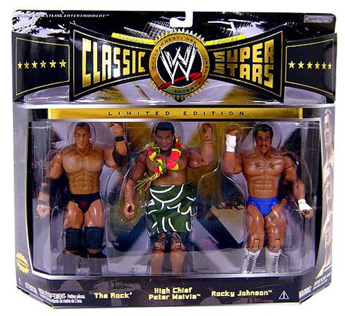 WWE Wrestling Classic Superstars Limited Editions The Rock, High Chief Peter Maivia & Rocky Johnson Action Figure 3-Pack