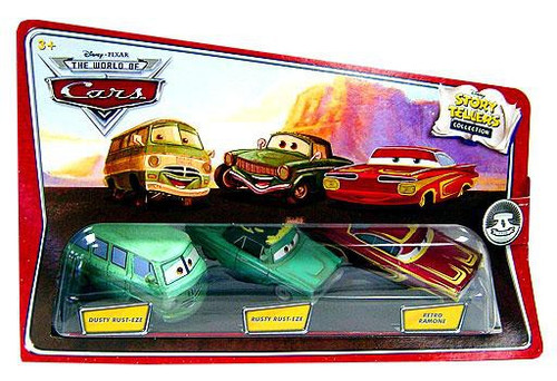 Disney Cars The World of Cars Story Tellers Dusty Rust-Eze, Rusty Rust-Eze & Retro Ramone Diecast Car 3-Pack