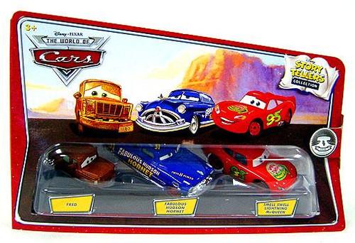 Disney Cars The World of Cars Story Tellers Fred, Fabulous Hudson Hornet & Smell Swell Lightning McQueen Diecast Car 3-Pack
