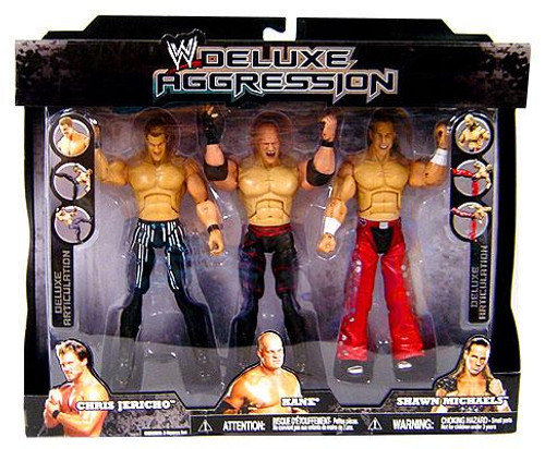 WWE Wrestling Deluxe Aggression Chris Jericho, Kane & Shawn Michaels Exclusive Action Figure 3-Pack