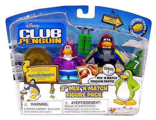 Club Penguin Mix 'N Match Series 1 Scuba Diver & Mermaid Mini Figure Set