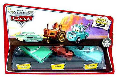 Disney Cars The World of Cars Story Tellers Wedding Day Ramone, Tractor & Brand New Mater Diecast Car 3-Pack
