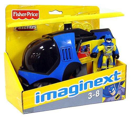 Fisher Price DC Super Friends Batman Imaginext Batcopter 3-Inch Figure Set [Yellow Suit Batman]