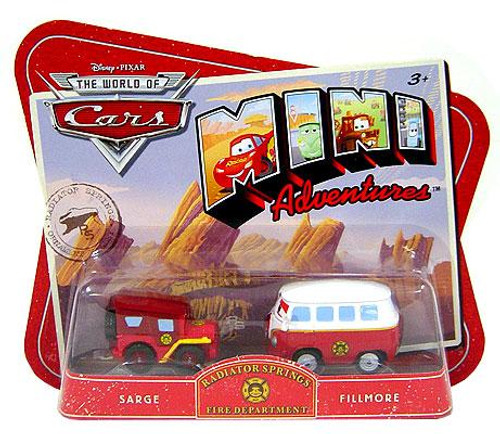 Disney Cars The World of Cars Mini Adventures Radiator Springs Fire Department Plastic Car 2-Pack [Sarge & Fillmore]