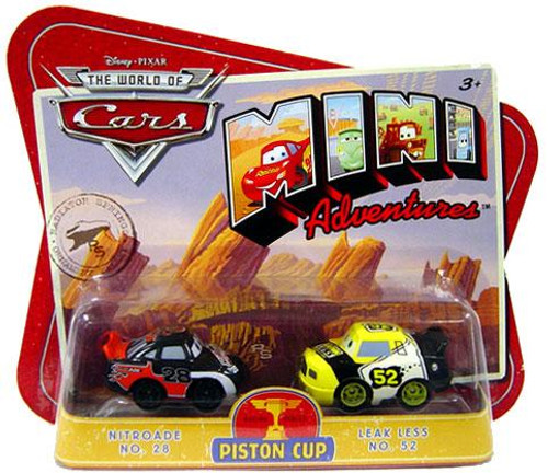 Disney Cars The World of Cars Mini Adventures Piston Cup Plastic Car 2-Pack [Nitroade & Leak Less]
