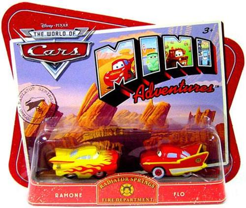 Disney Cars The World of Cars Mini Adventures Radiator Springs Fire Department Plastic Car 2-Pack [Ramone & Flo]