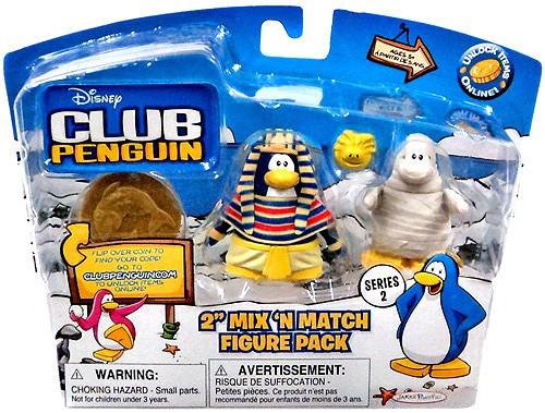 Club Penguin Mix 'N Match Series 2 Pharaoh & Mummy with Golden Puffle Mini Figure Set