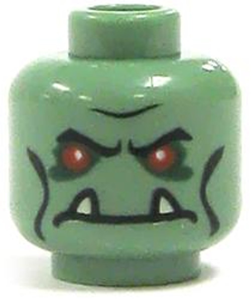 LEGO Minifigure Parts Sand Green with Red Eyes & Tusks Minifigure Head [Loose]