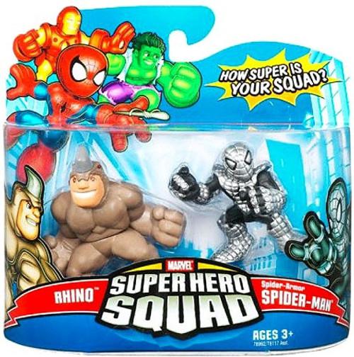 Marvel Super Hero Squad Series 12 Rhino & Spider-Armor Spider-Man Action Figure 2-Pack