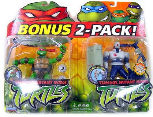 Teenage Mutant Ninja Turtles 2003 Raphael & Foot Gunner Action Figure Set [Damaged Package]