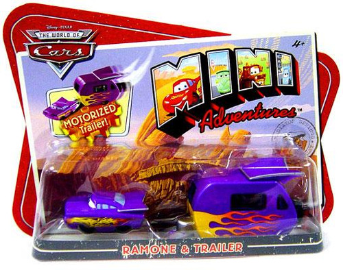 Disney Cars The World of Cars Mini Adventures Ramone & Motorized Trailer Plastic Car 2-Pack