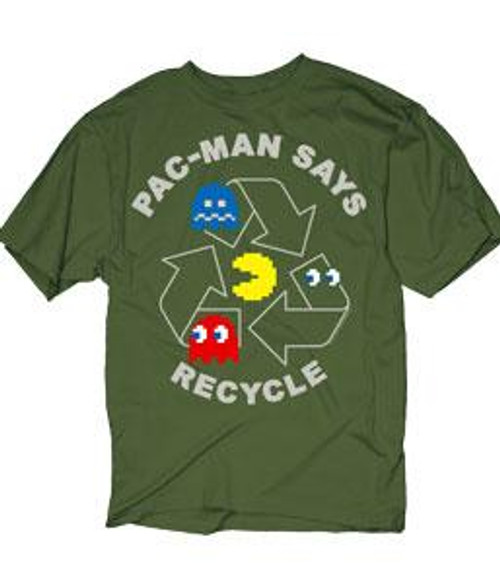 Pac Man Pac-Man Says Recycle T-Shirt [Adult Small]