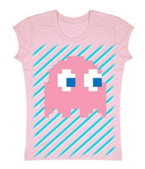 Pac Man Pink Ghost T-Shirt [Juniors Small]