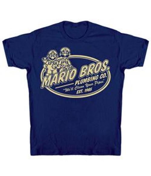 Super Mario Mario Bros Plumbing Co T-Shirt [Adult Large]