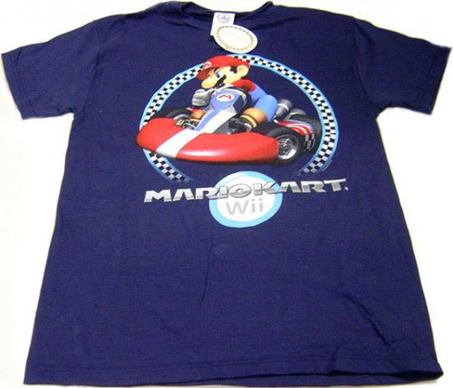 Super Mario Mario Kart Wii Wii Mario Kart T-Shirt [Adult Medium]