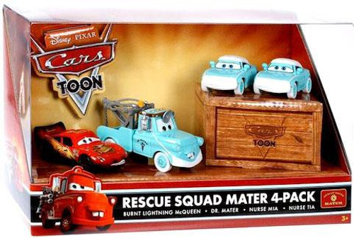 Disney Cars Cars Toon Multi-Packs Rescue Squad Mater 4-Pack Diecast Car Set [Dr. Mater]