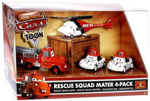 Disney Cars Cars Toon Multi-Packs Rescue Squad Mater 4-Pack Diecast Car Set [Fire Engine Mater]