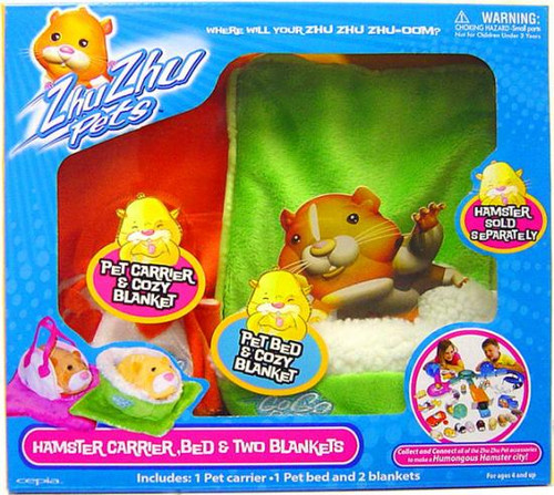 Zhu Zhu Pets Hamster Carrier, Bed & Two Blankets [Damaged Package]