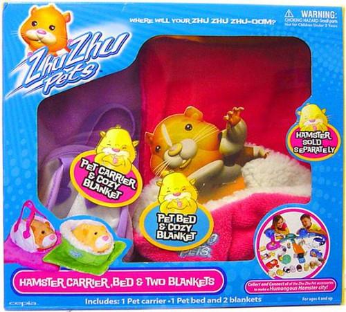 Zhu Zhu Pets Hamster Carrier, Bed & Two Blankets [Purple & Pink]