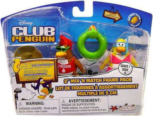 Club Penguin Mix 'N Match Series 4 Lifeguard & Snorkeler Mini Figure Set