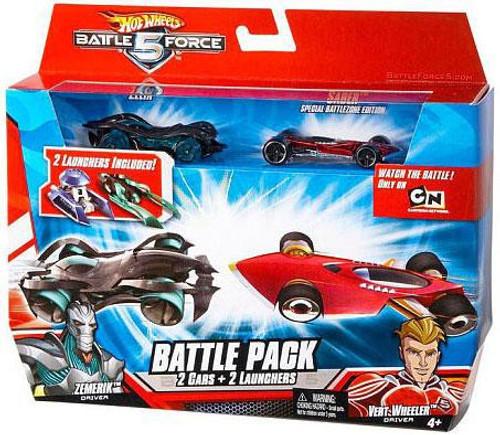 Hot Wheels Battle Force 5 Battle Pack Zelix & Special Battlezone Edition Saber 1/6 Diecast Car 2-Pack