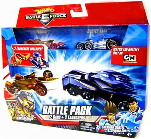 Hot Wheels Battle Force 5 Battle Pack Fangore & Special Battlezone Edition Buster Tank 1/6 Diecast Car 2-Pack