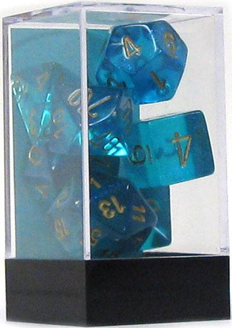 Chessex Borealis Polyhedral Dice [Teal w/Gold]