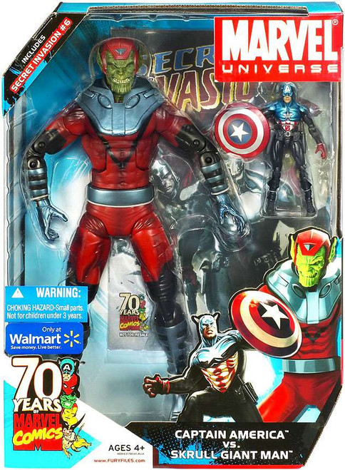 Marvel Universe 70 Years of Marvel Comics Captain America vs. Skrull Giant Man Exclusive Action Figure Set #6]