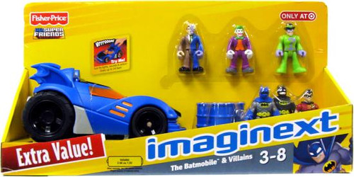 Fisher Price DC Super Friends Batman Imaginext Batmobile & Villains Exclusive 3-Inch Figure Set
