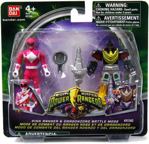 Power Rangers Mighty Morphin 2009 Pink Ranger & Dragonzord Battle Mode Action Figure 2-Pack